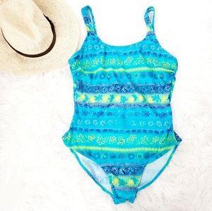 Vintage Blue Striped Floral One Piece Swim Suit